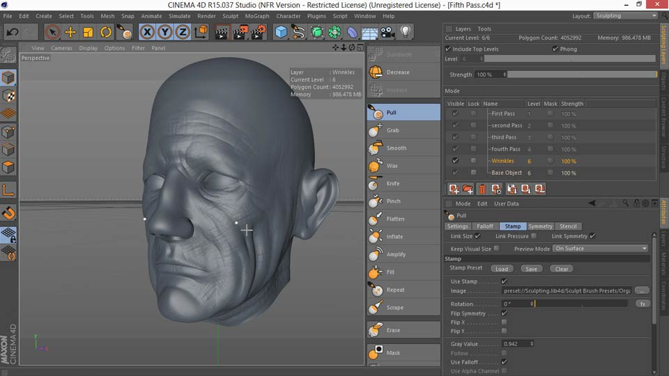 Lynda - Sculpting and Painting a Head in CINEMA 4D - student