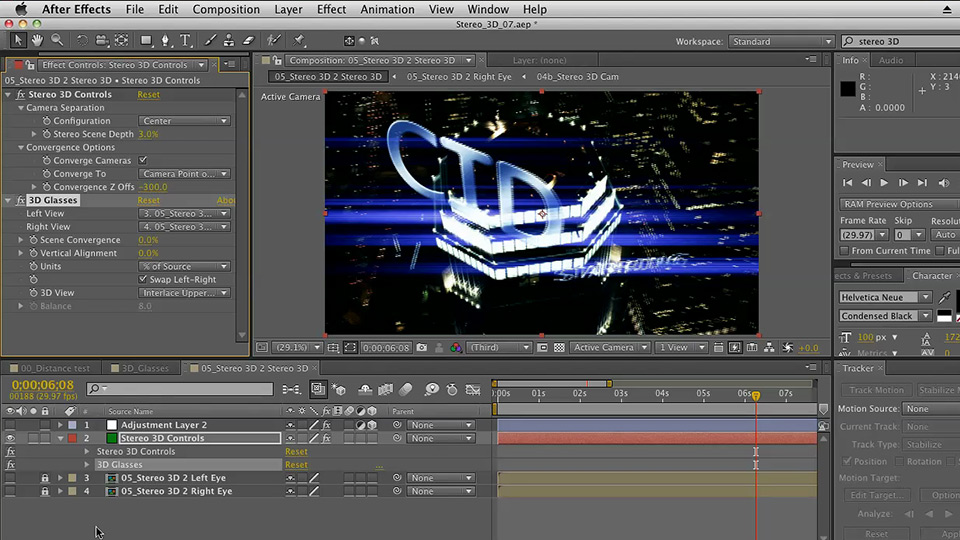 Stereoscopic 3D Motion Graphics with After Effects course image