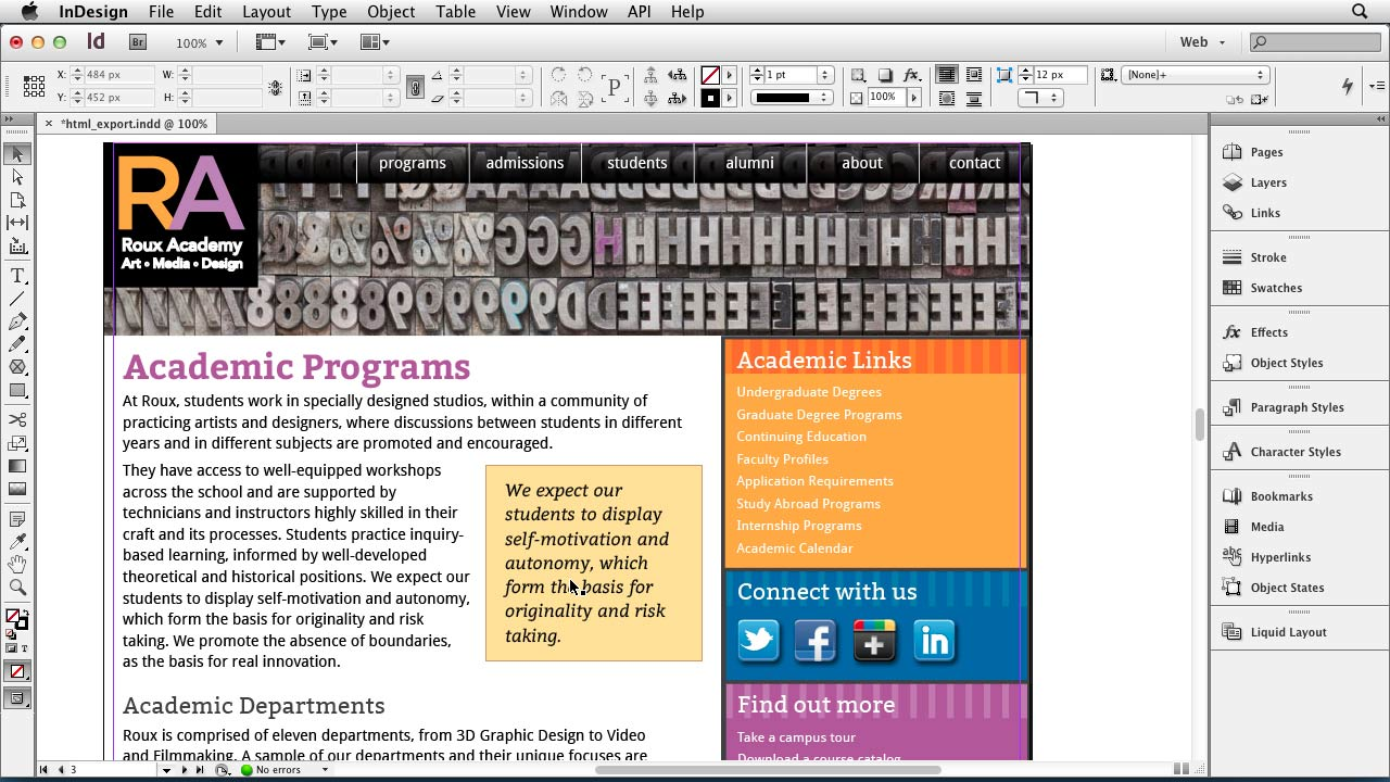 InDesign for Web Design course image