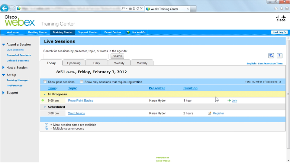 Up and Running with WebEx Training Center course image
