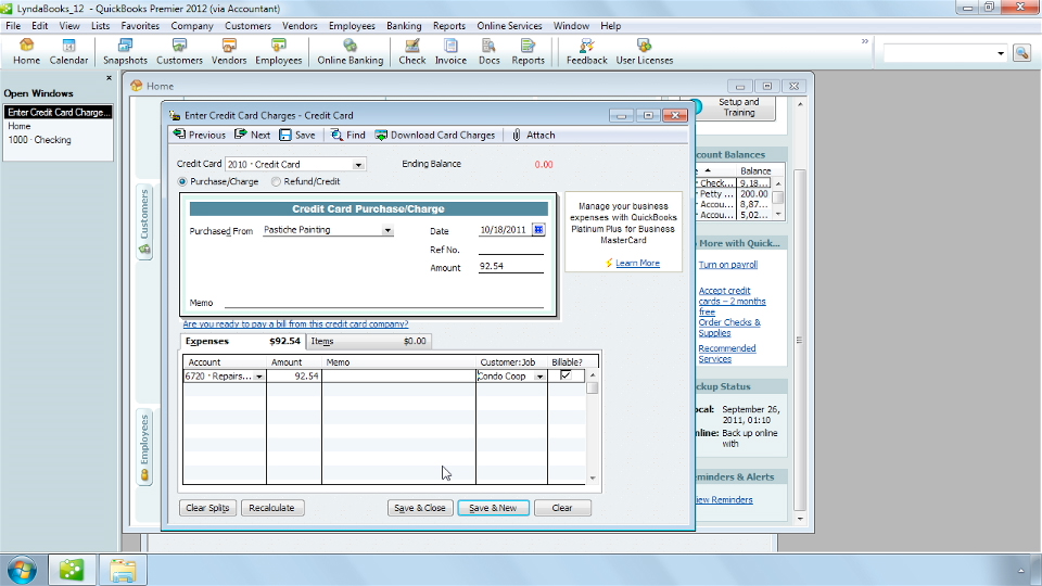 QuickBooks Pro 2012 Essential Training course image