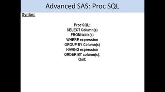 An Introduction to SAS programming on Proc SQL course image