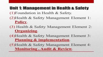 NEBOSH: HEALTH and SAFETY Management System PART 1 course image