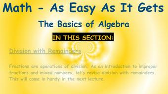 Math - As Easy As It Gets: The Basics of Algebra: Part 2 - Fractions course image