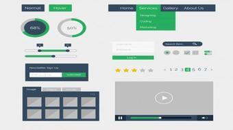 Design Simple Flat GUI kit in Photoshop course image