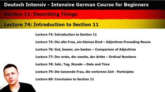 Intensive German: Part 11 - Describing Things course image