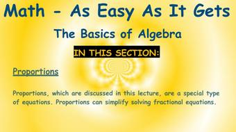 Math - As Easy As It Gets: The Basics of Algebra: Part 7 - Equations course image