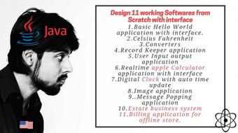 Design 11 softwares in Java from scratch course image