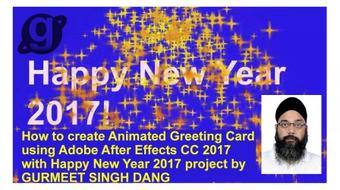 How to create Animated Greeting Card using Adobe After Effects CC 2017 with Happy New Year project course image