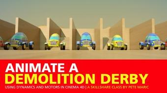 Animate a Demolition Derby Using Dynamics and Motors in Cinema 4D course image