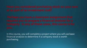 Should I Buy That Stock? Quick and Easy Financial Analysis For Making Stock Purchasing Decisions course image