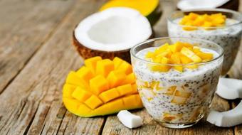 Chia Pudding with Mango, Goji Berry and Cashew - Vegan (non-dairy), Superfood Dessert course image