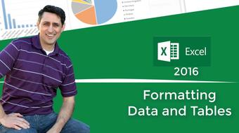 Excel 2016 Formatting Data And Tables To Look Professional course image