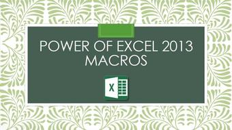 Power of Excel 2013 Macros course image